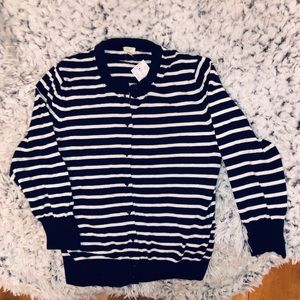 NWT J. Crew Navy Blue and White Striped Sweater